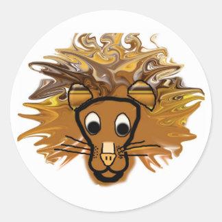 Cartoon Lion Classic Round Sticker