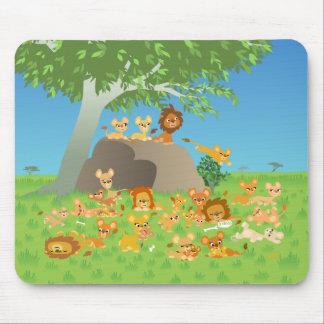 Cartoon Lion Family mousepad