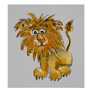 Cartoon Lion Poster Print