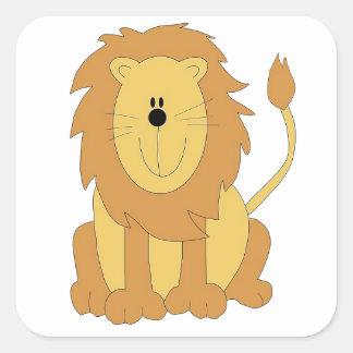 Cartoon Lion Square Sticker