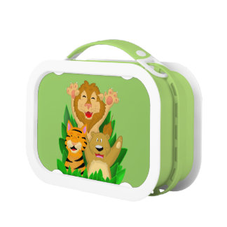 Cartoon Lion Tiger and Bear Lunch Box