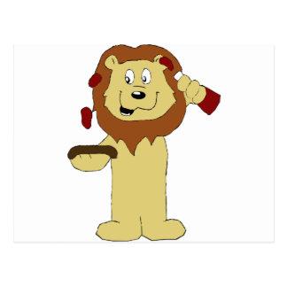 Cartoon Lion With Steaks Postcard