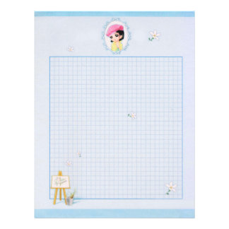 Cartoon Little Girl Smiling and Canvas in Blue Letterhead