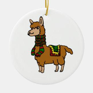 Cartoon Llama Ceramic Ornament