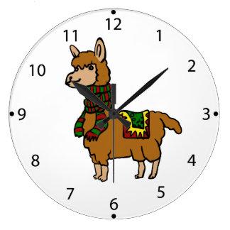 Cartoon Llama Large Clock