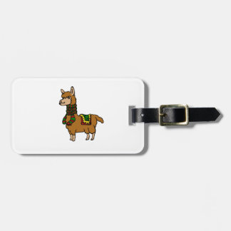 Cartoon Llama Luggage Tag