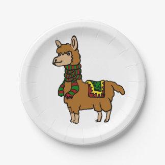 Cartoon Llama Paper Plate