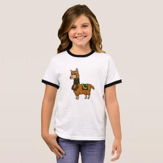 Cartoon Llama Ringer T-Shirt