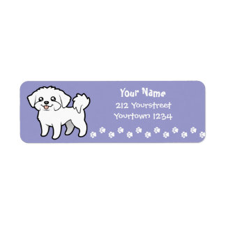 Cartoon Maltese (puppy cut) Return Address Label