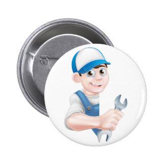 Cartoon Man Mechanic Plumber 2 Inch Round Button