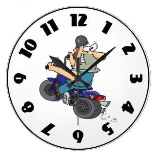 Cartoon Man On A Motorcycle Clock