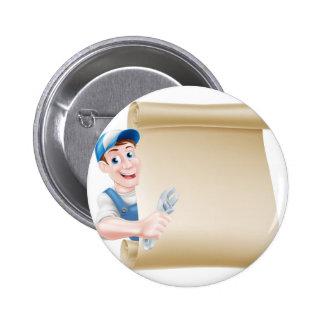 Cartoon Man Plumber Mechanic 2 Inch Round Button