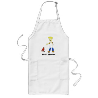 Cartoon Man With BBQ Grill Long Apron