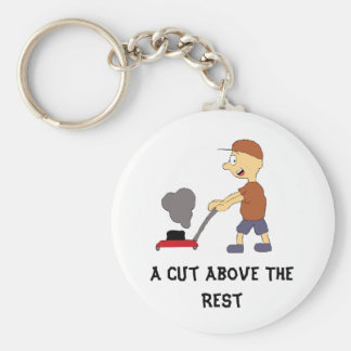 Cartoon Man With Lawnmower Basic Round Button Keychain