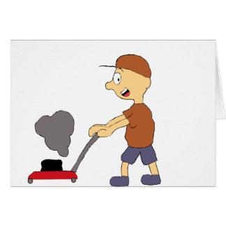 Cartoon Man With Lawnmower Card