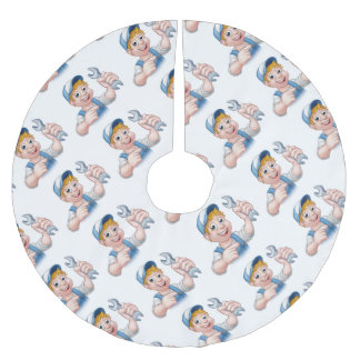 Cartoon Mechanic or Plumber with Spanner Brushed Polyester Tree Skirt