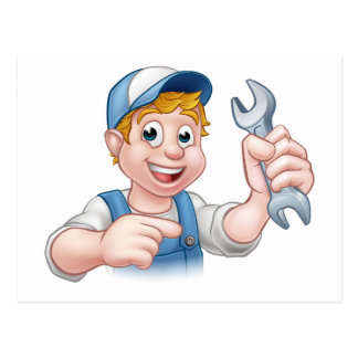 Cartoon Mechanic or Plumber with Spanner Postcard