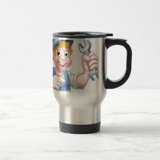 Cartoon Mechanic or Plumber with Spanner Travel Mug