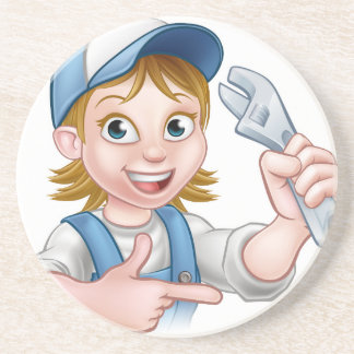 Cartoon Mechanic Plumber Woman Holding Spanner Coasters