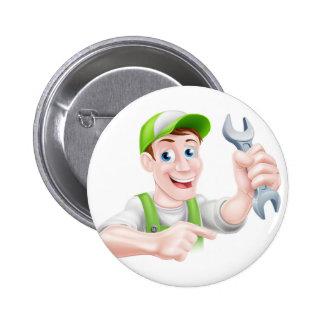 Cartoon Mechanic Pointing 2 Inch Round Button