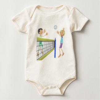 Cartoon Men Playing Volleyball Baby Bodysuit