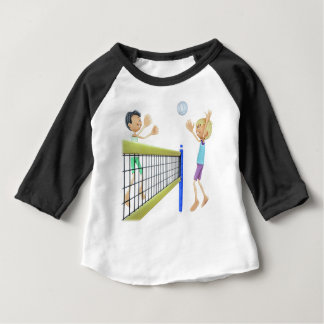 Cartoon Men Playing Volleyball Baby T-Shirt