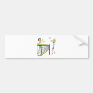 Cartoon Men Playing Volleyball Bumper Sticker