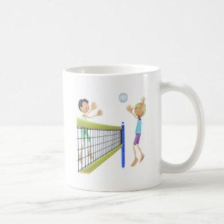 Cartoon Men Playing Volleyball Coffee Mug