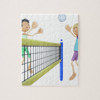 Cartoon Men Playing Volleyball Jigsaw Puzzle