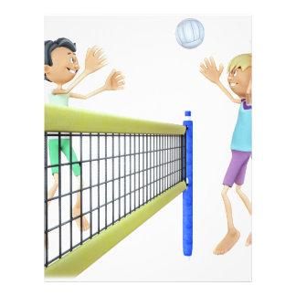 Cartoon Men Playing Volleyball Letterhead