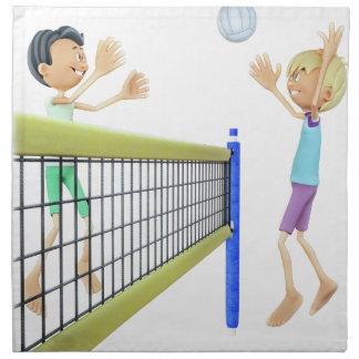 Cartoon Men Playing Volleyball Napkin