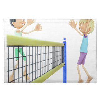 Cartoon Men Playing Volleyball Placemat