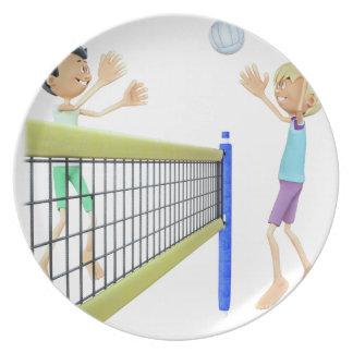 Cartoon Men Playing Volleyball Plate