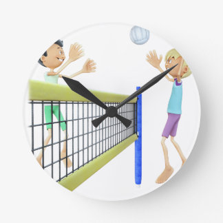 Cartoon Men Playing Volleyball Round Clock