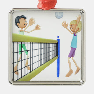Cartoon Men Playing Volleyball Silver-Colored Square Ornament