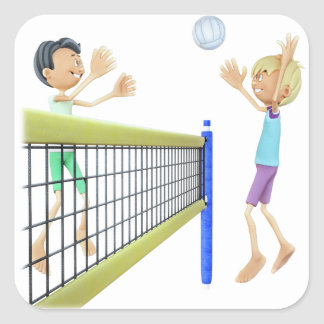Cartoon Men Playing Volleyball Square Sticker
