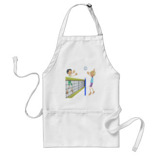 Cartoon Men Playing Volleyball Standard Apron