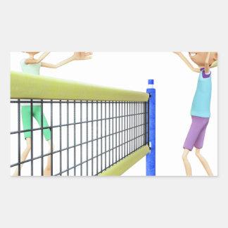 Cartoon Men Playing Volleyball Sticker