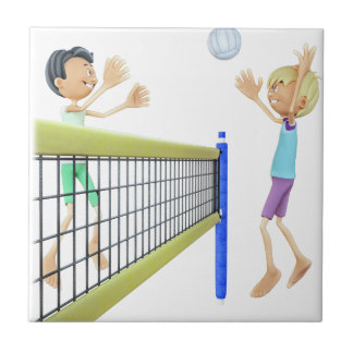 Cartoon Men Playing Volleyball Tile