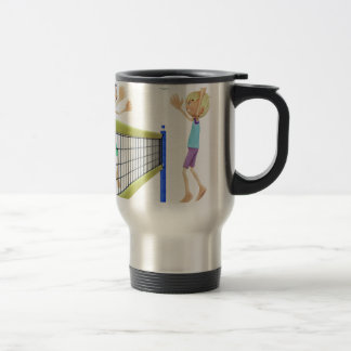 Cartoon Men Playing Volleyball Travel Mug