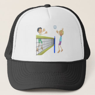 Cartoon Men Playing Volleyball Trucker Hat