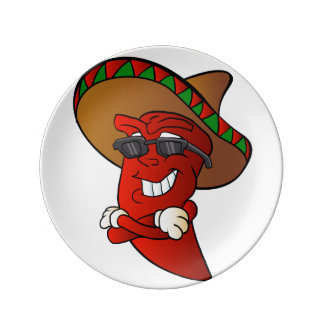 cartoon mexican pepper. plate