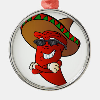 cartoon mexican pepper. Silver-Colored round ornament