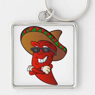cartoon mexican pepper. Silver-Colored square keychain