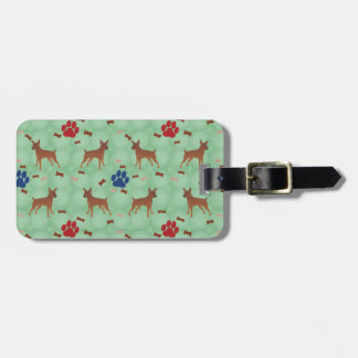 Cartoon Miniature Pinscher Luggage Tag
