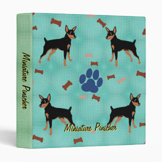 Cartoon Miniature Pinscher Vinyl Binders