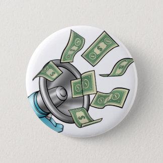 Cartoon Money Megaphone Concept 2 Inch Round Button