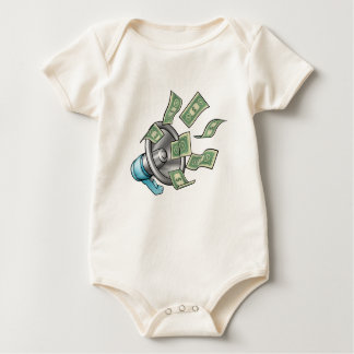 Cartoon Money Megaphone Concept Baby Bodysuit