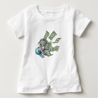 Cartoon Money Megaphone Concept Baby Romper