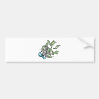 Cartoon Money Megaphone Concept Bumper Sticker
